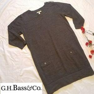 BASS 3/4 sleeve knit knee length sweater dress